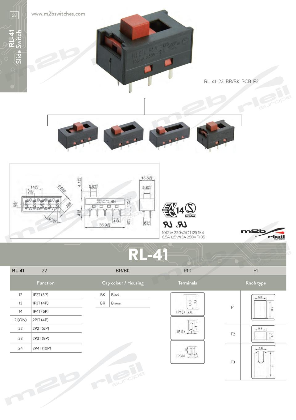 hight resolution of www m2bswitches com rl 41 slide switch 58 rl 41 22