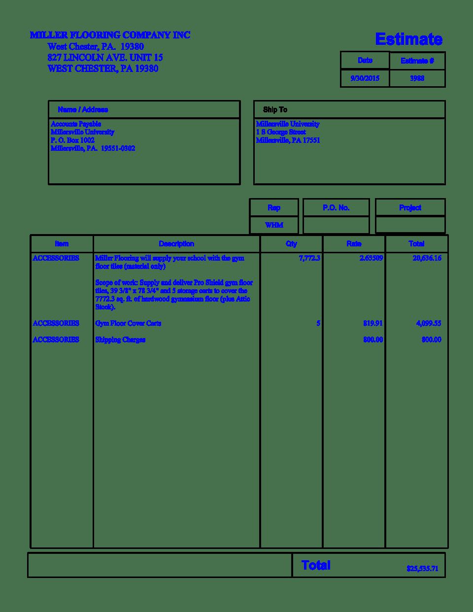 EstimateMillersville University  simplebookletcom
