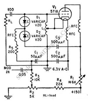 100MHz Varicap Oscillator – Simple Circuit Diagram