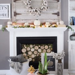 Living Room Mantel Decor Window Treatments For Casual Fall Mantle 4 Different Ways Simple Cozy Charm With Cotton Wreath