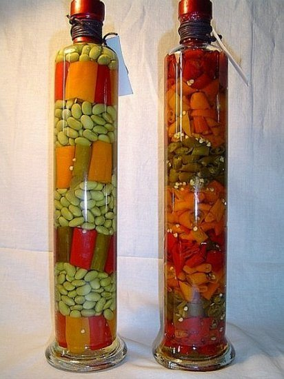 Decorative bottle with vegetables for the kitchen decor  Simple Craft Ideas
