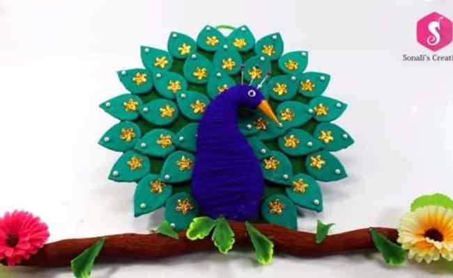 Cardboard Peacock Wall Hanging For Home Decor Simple