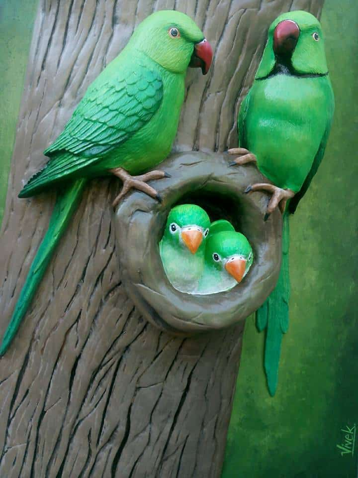 How to make parrot family from clay art  Simple Craft Ideas