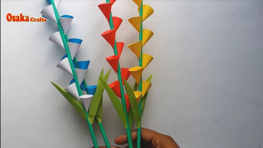 How to make beautiful paper flower stick for room