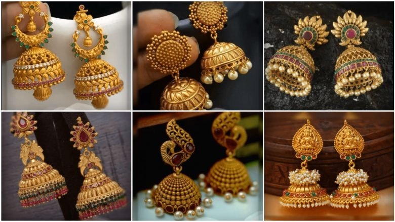 Chidambaram gold covering heavy double jhumka gold earrings design for women. Latest Beautiful Antique Gold Jhumka Designs Simple Craft Ideas