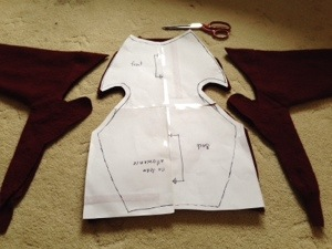 Cutting out the pattern.