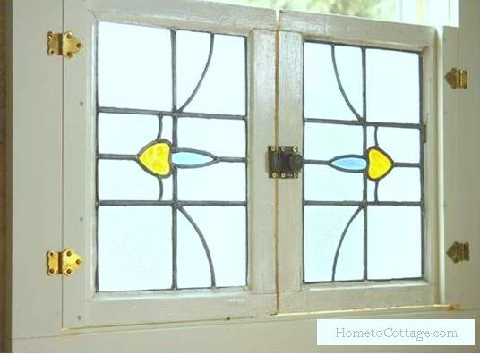 HometoCottage.com antique stained glass into shutters