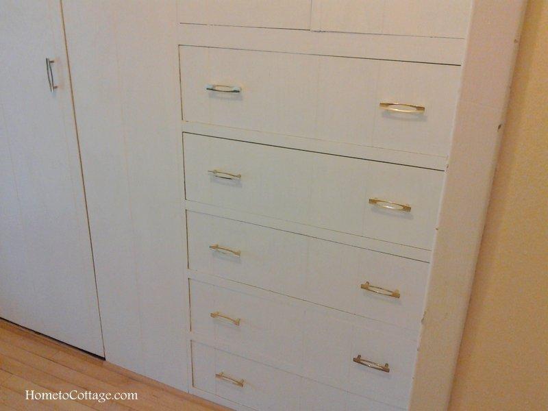 HometoCottage.com linen closet drawers before
