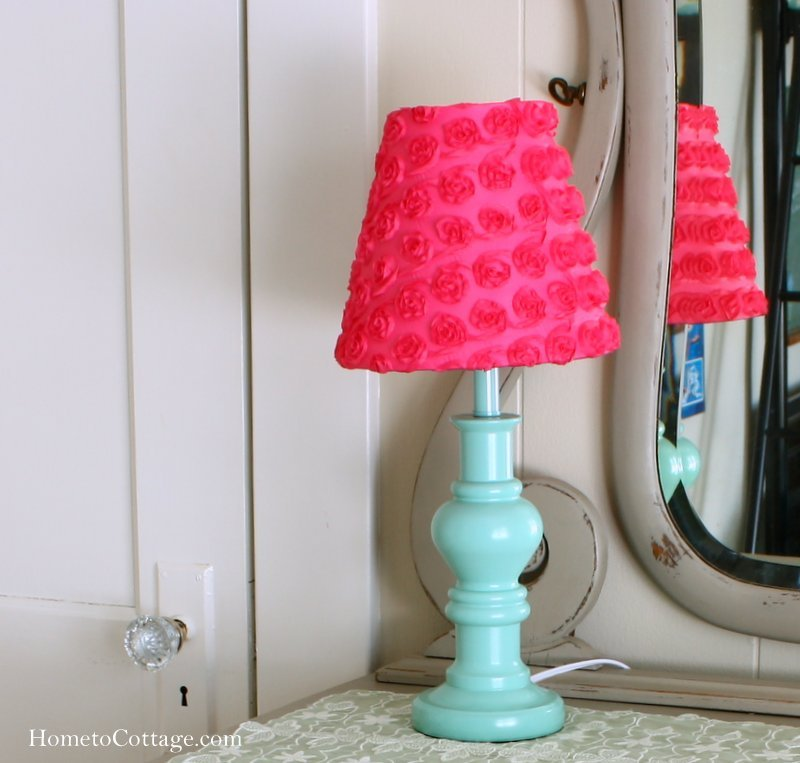 HometoCottage.com aqua and pink lamp