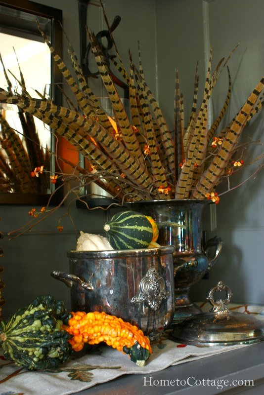 HometoCottage.com Autumn Arranging Gourds and Feathers