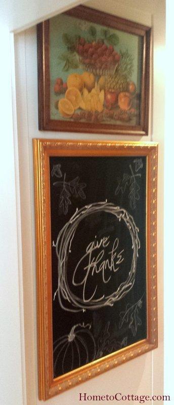 HometoCottage.com chalkboard on endcap of fridge