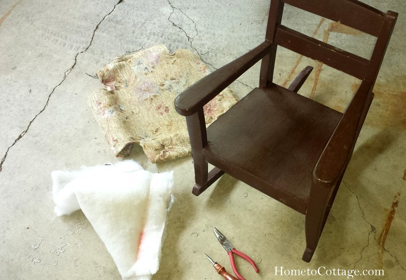 HometoCottage.com vintage rocking chair after old fabric removed