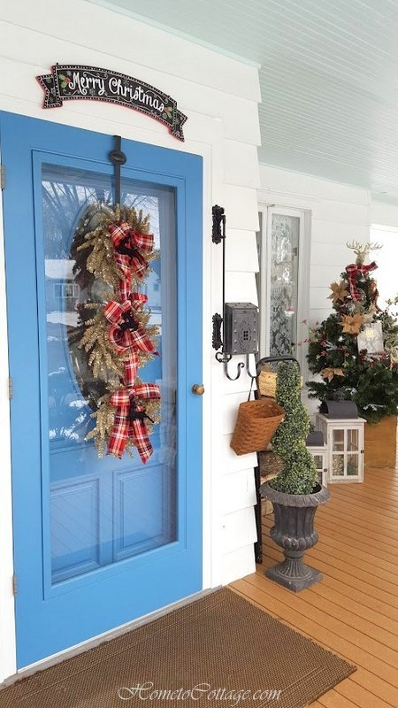 HometoCottage.com triple wreath with plaid and deer