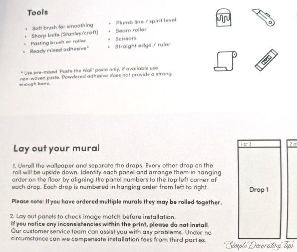 wallpaper mural installation instructions