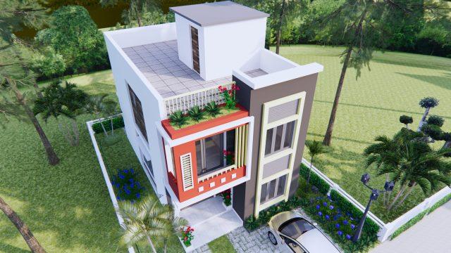 3d House Design 6x10 Meters 20x33 Feet 2 Beds 3