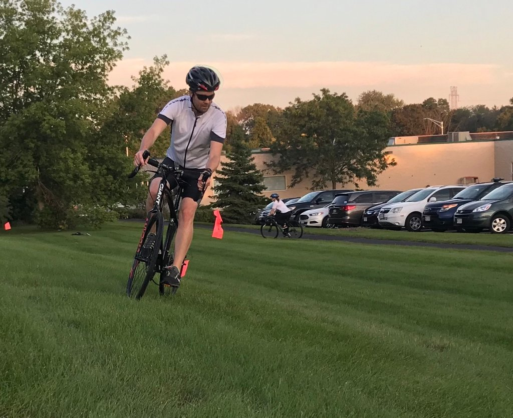 James is practicing off-camber corners during cyclocross practice at the WAC.