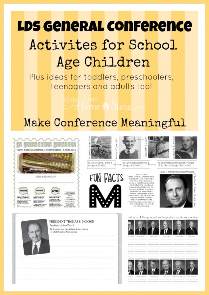 General Conference Activity ideas for elementary age kids, plus the Ultimate list of Ideas for making General Conference Meaningful for all ages: http://simplefamilypreparedness.com/?p=9461