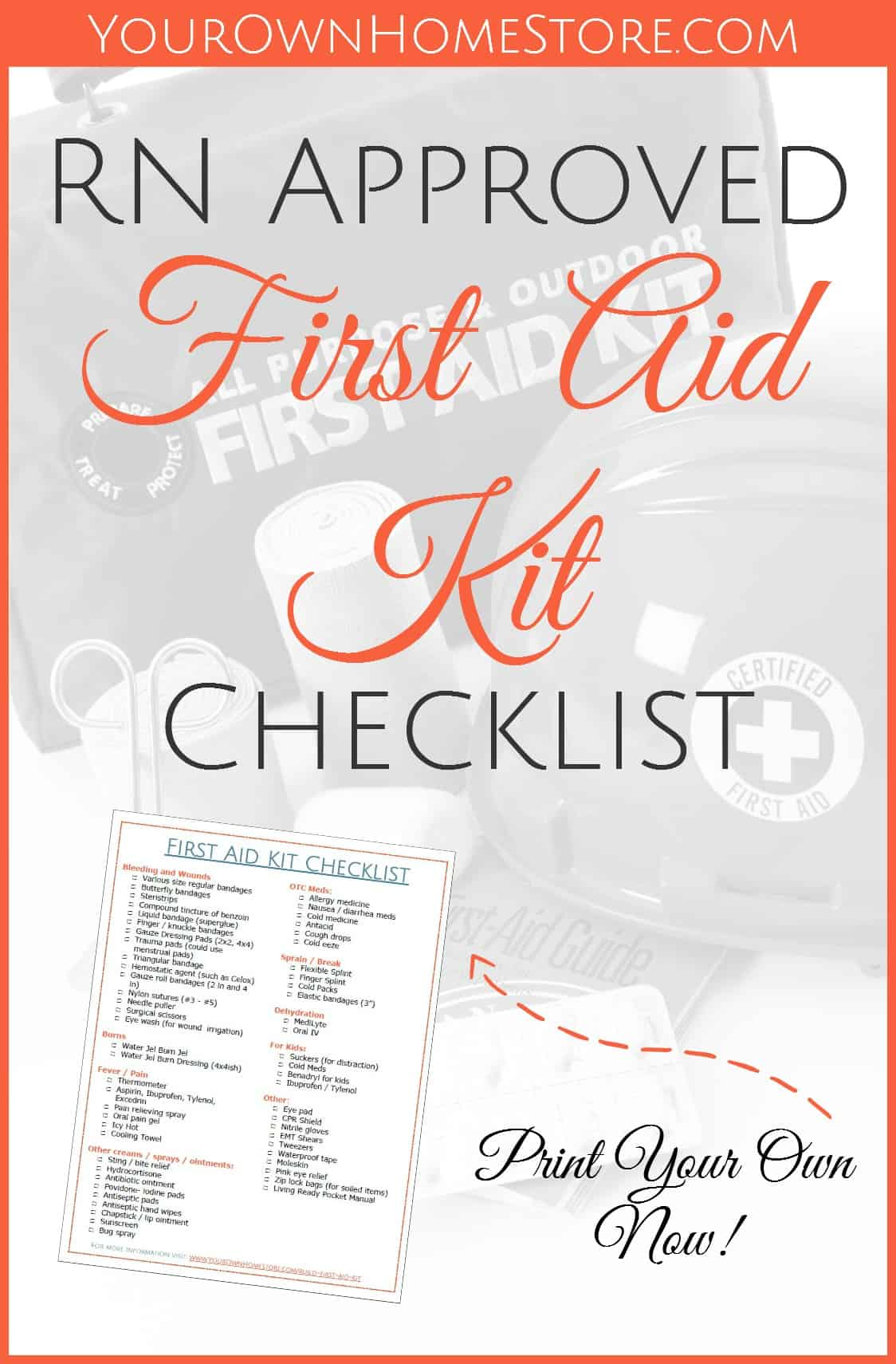 First Aid Kit Checklist For Pinterest 2