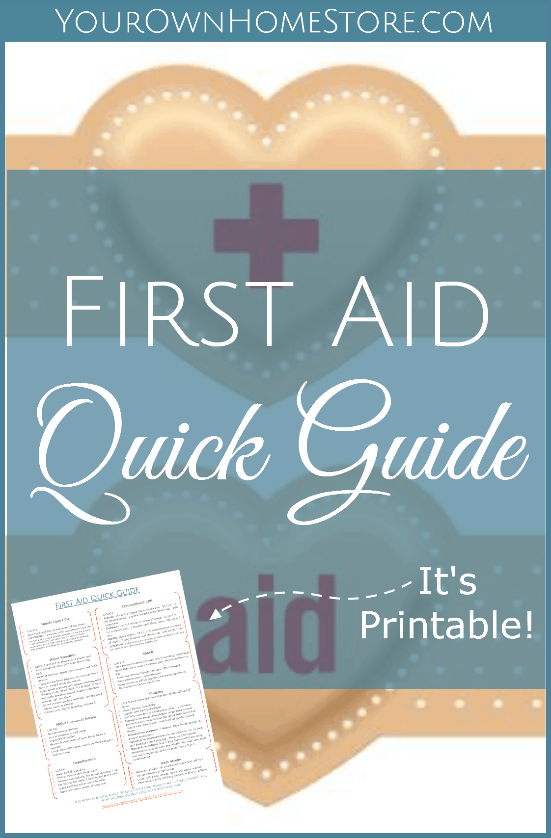 A Printable First Aid Skills Quick Guide