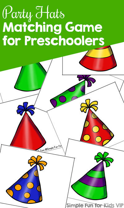 Party Hats Matching Game for Preschoolers  Simple Fun for