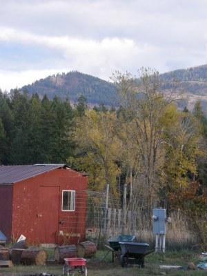 Red barn, garden gate, firewood, wheelbarrows, and fall colors.