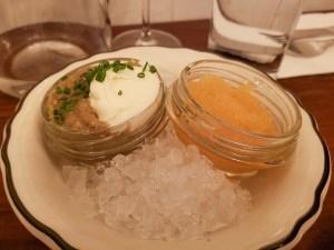 Aubergine et Caviar d'Abitibi at Le Vin Papillon
