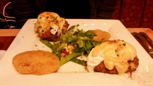 Crab Cake and Fried Green Tomato Eggs Benedict at Miss Shirley's