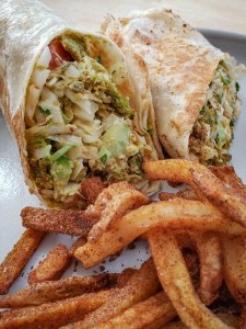 Falafel Wrap with Adobo Fries