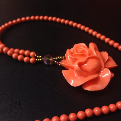 Flower Pendant Necklace Coral Pearls Unique Jewelry Tampa