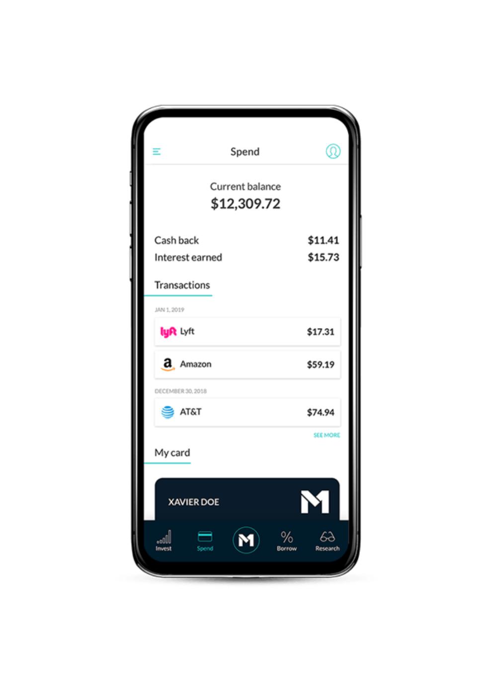 M1 Finance Plus App Screen Phone iPhone 1% cash back