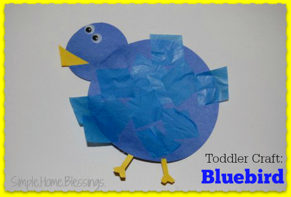 Toddler Craft Blue Bird_a simple craft for little hands to teach color and shape recongnition