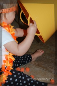orange sensory bin