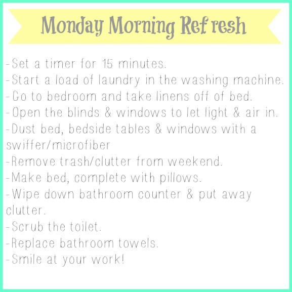 monday morning refresh, part of maintaining an orderly master bedroom