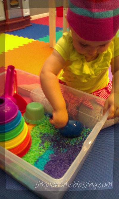 rainbow sensory bin