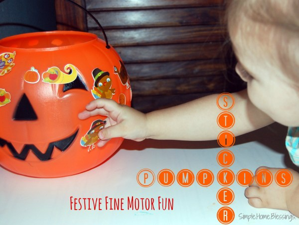 pumpkin decorations with stickers - fine motor fun