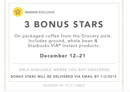 starbucks rewards from purchasing coffee at the store