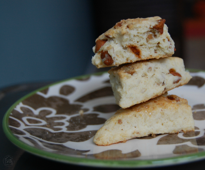 Easy recipe for pecan cinnamon-chip scones. put together all the ingredients and have them prepped by the time the oven pre-heats.