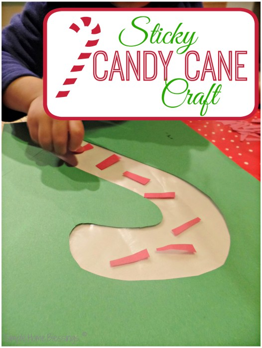 Simple sticky candy cane craft for toddlers and preschoolers