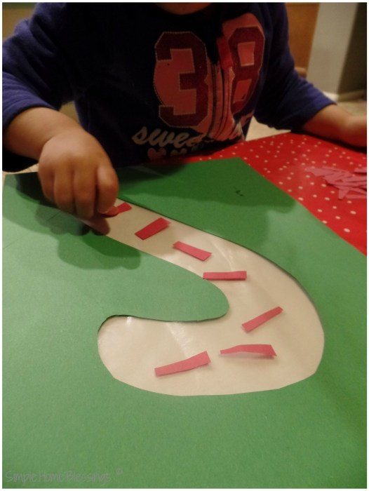 simple sticky candy cane craft, easy craft for toddlers