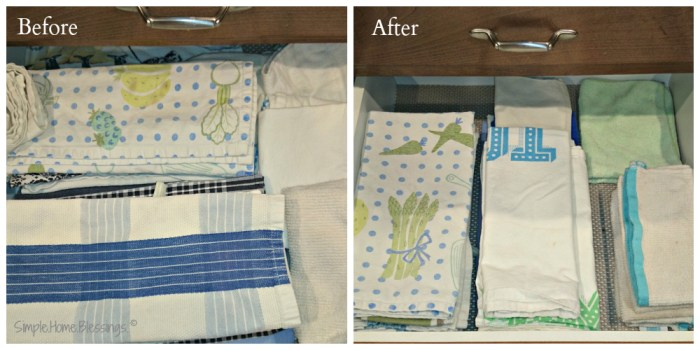 clutter free journey, kitchen towels; how many is too many?