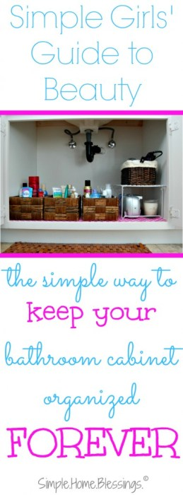 the simple way to keep your bathroom cabinet organized FOREVER - I tried this last year and it still looks this good!