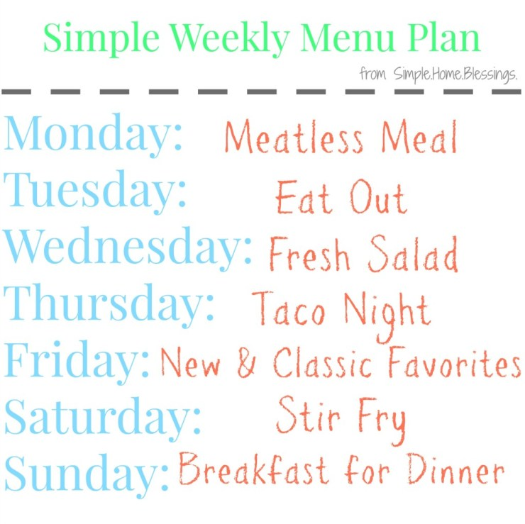 Menu planning basics for each week