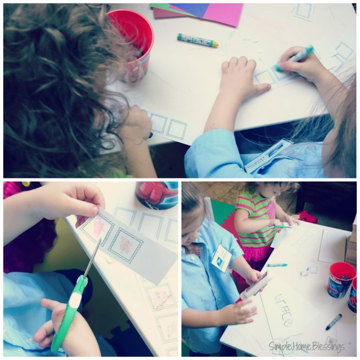 Stamp Creating activity for preschool mail man theme