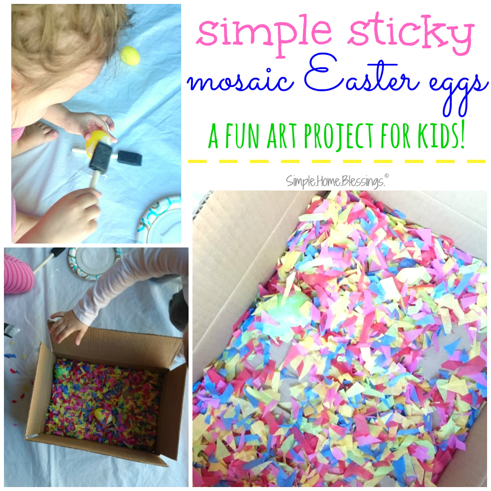 Mosaic Easter eggs art project for kids
