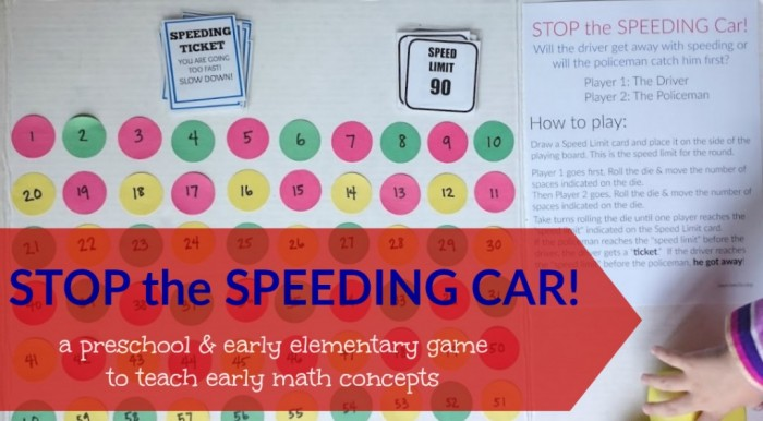 STOP the SPEEDING CAR preschool math game