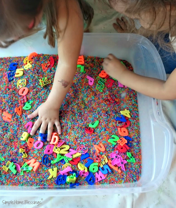 falling in love with the alphabet - sensory bin