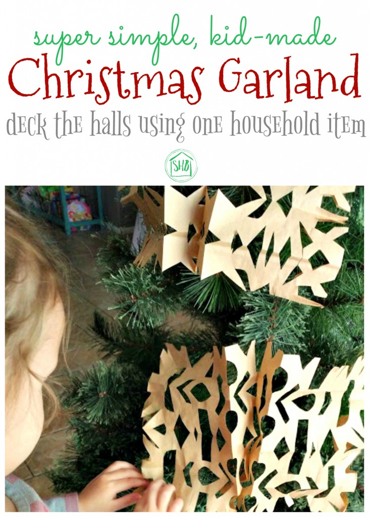 a super simple christmas garland for kids to make use only one item from around