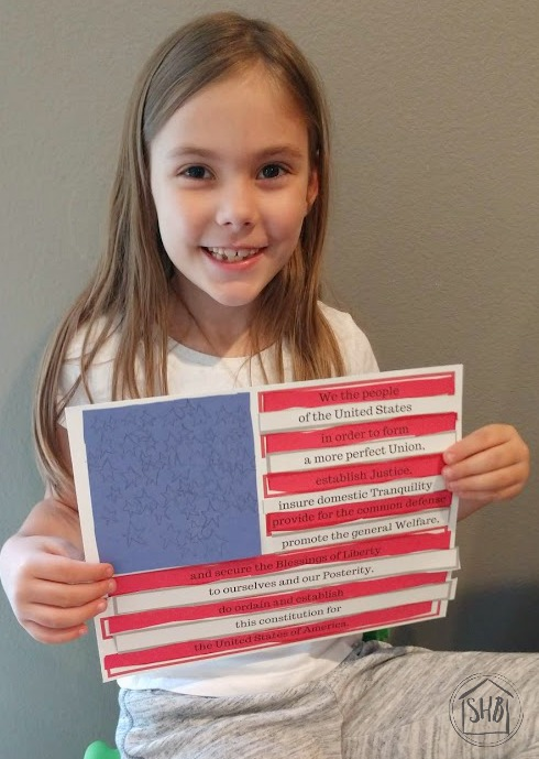 Create a Preamble Flag to learn the Preamble to the US Constitution and celebrate America's freedom and flag.