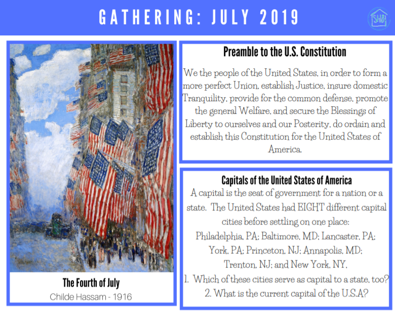 July 2019 Gathering placemats - finally get to all the riches you never find the time for - art, poetry, Scripture, history and so much more.  A free download!