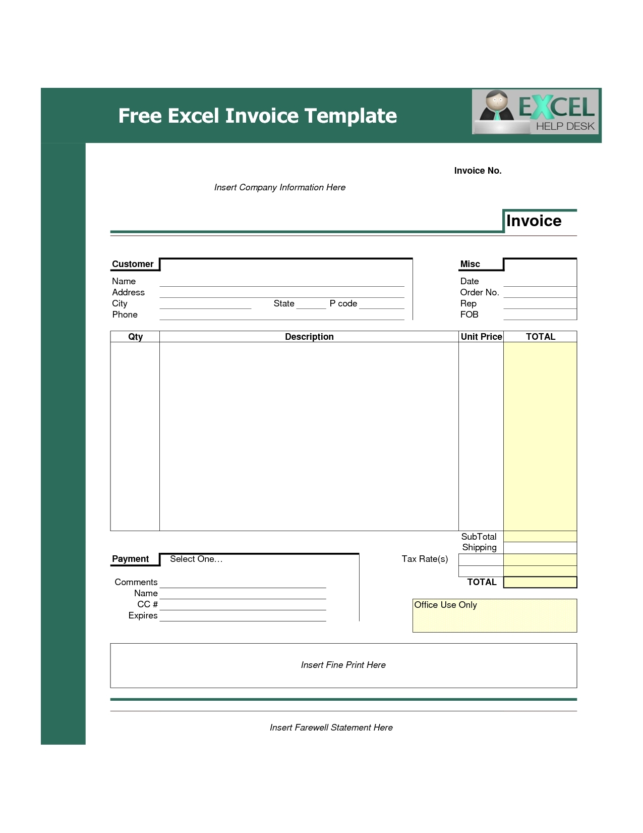 Excel Spreadsheet Invoice Template